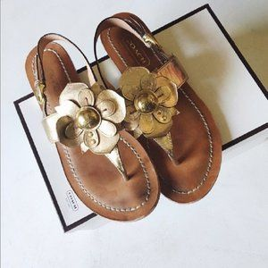 Coach Gold Sari Metallic Leather Flower Sandals